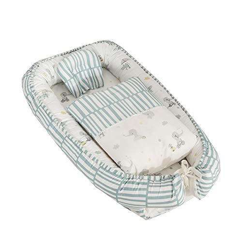 WNZL Baby Lounger voor Bed, Baby Nest voor Pasgeboren, Volledige Katoen Pasgeboren Draagbare Bassinet Crib, Ademend en Hypoallergeen Lounger Kussen voor Reizen Camping