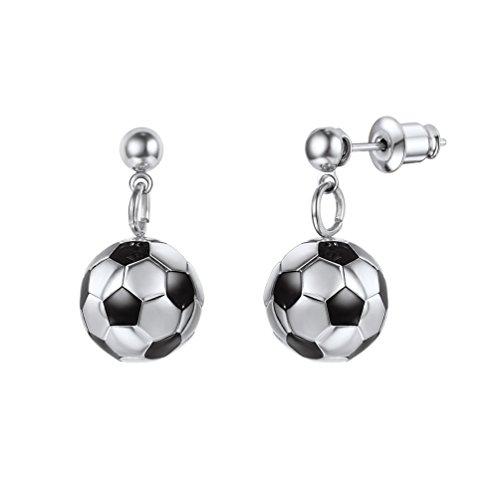 PROSTEEL Damen Mädchen Ohrringe Edelstahl 3D Fußball Design Ohrhänger Ball Form Ohrringe Ohrschmuck, silber