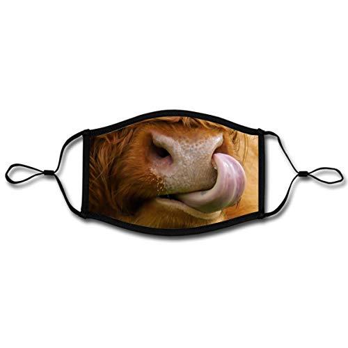 Spreadshirt Kuh Mit Zunge Witzig Hochlandrind Mund-Nasen-Bedeckung Verstellbar Groß, Weiß/Schwarz