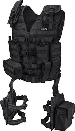Loaded Gear Tactical Vest Light Outdoor Training Vest and Leg Platforms for Adults … (Black)