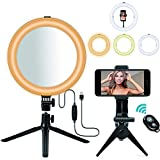 LED Ring Light, MACTREM 10' Selfie Ring Light with Tripod Stand & Mirror & Phone Holder, Dimmable Desk Makeup Ring Light Perfect for Live Streaming & YouTube Video, Photography