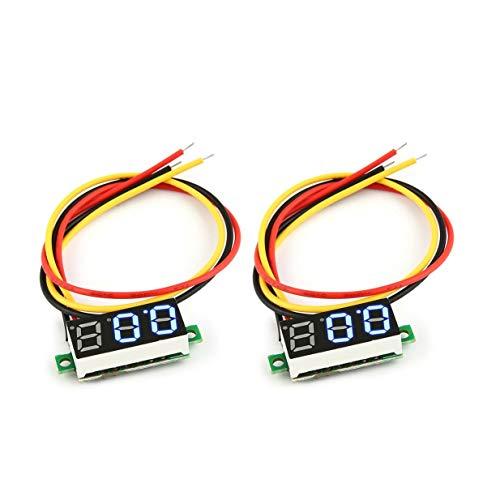 Timetided 2 uds 100V 0.28in 3 Cables LED Panel de Pantalla Digital Volt¨ªmetro medidor de Voltaje el¨¦ctrico probador de voltios para Auto bater¨ªa Coche
