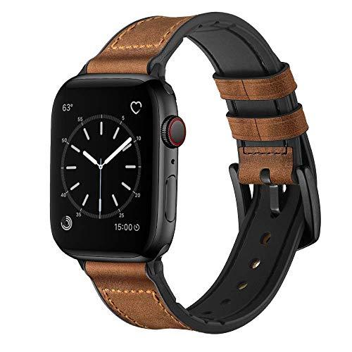 Hspcam Correa de silicona y cuero para Apple Watch Band 44mm 40mm iwatch Band 38mm 42mm pulsera Apple Watch Series 6 5 4 3 SE 2 1 (38mm o 40mm, marrón retro)