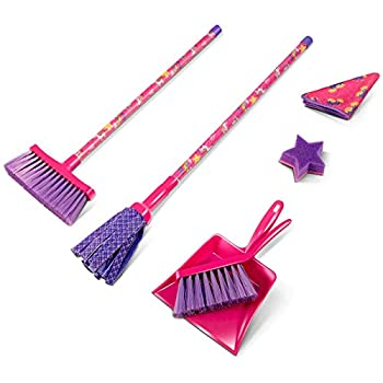 MASTERTOP Kids Cleaning Set - 6 Piece Dust Pans with Brush 6 in 1 Lightweight Mini Broom Dustpan Set Hand-held Brush Mop Cleaning Sponge Microfiber Cleaning Cloth Toddler Cleaning Set