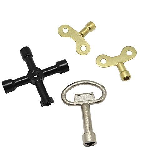 Hysagtek Assortiment de 4 clés d'atelier, kit universel de clés utilitaires, kit clé de plombier clé, clé triangulaire + clé de service en croix + clés d'eau pour radiateurs, coffrets de compteurs électriques à gaz