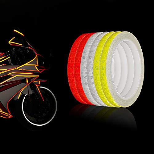 6 Rolle Reflektorband Selbstklebend für Auto und Fahrrad, Reflektor Wasserdicht Sicherheit Markierung Band Warnklebeband Nacht Reflektor Streifen Tape (Rot Weiß Gelb / 1CM * 8M)