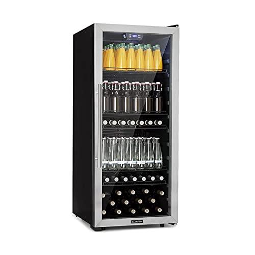 Klarstein Beersafe XL Getränkekühlschrank, Flaschenkühlschrank mit Metalleinlegeböden, Bierkühlschrank Glastür, freistehend, Bodenrollen, Edelstahlfront, 242 Liter