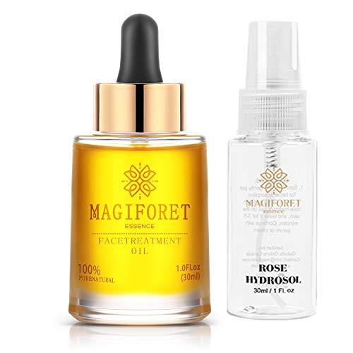 MagiForet Huile Visage Bio 1.0 oz (30ml), Sérum visage, Huile végétale anti vieillissement crème hydratante unisexe, à l'huile de jojoba, à l'huile d'argan et à l'huile de cynorhodon