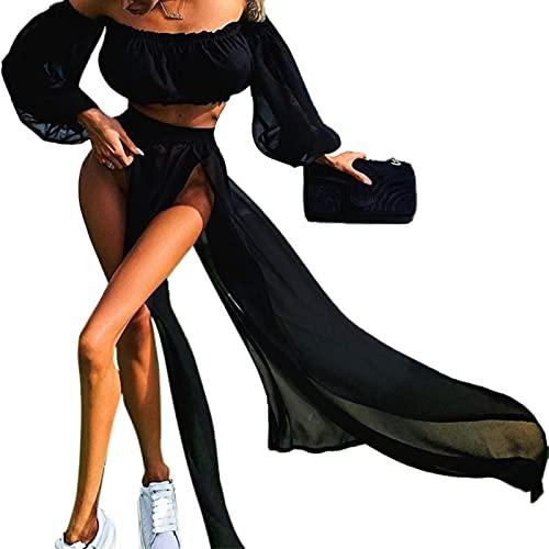 Mujeres 2pcs Bikini Traje de baño Cover Up Set Sexy Mesh Crop Top Slit Maxi Beach Falda bikini bandeau top fruncido corbata inferior sujetador wrap set push up tanga pantalones vestido falda malla de