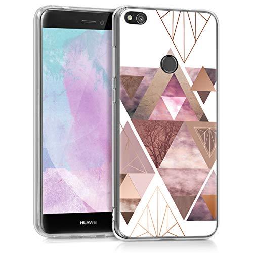 kwmobile Hülle kompatibel mit Huawei P8 Lite (2017) - Handyhülle - Handy Case Glory Dreieck Muster Rosa Rosegold Weiß