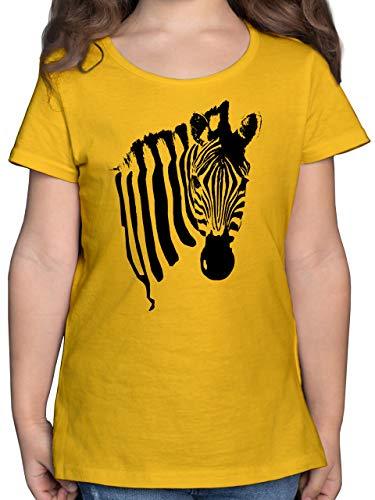 Tiermotive Kind - Zebra - 164 (14/15 Jahre) - Gelb - Kind Shirt Tier - F131K - Mädchen Kinder T-Shirt