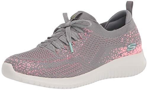 Skechers Damen Ultra Flex Sneaker, Grauer Strick mit rosafarbenem Rand, 36 EU