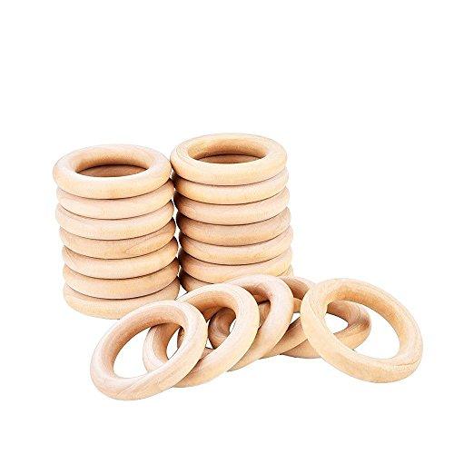 eBoot Holzring, Holzringe Schmuck, Holzringe 20 Satz 55mm für Kunsthandwerk, Ring Anhänger und Anschlüsse Schmuckherstellung