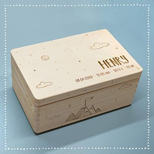 Personalisierte Erinnerungsbox Box Aufbewahrungsbox Erinnerungskiste mit Namen Holzkiste für Kinder Geschenkbox Geschenkidee für Jungs Mädchen Bergwelt Weihnachten Geburtstagsgeschenk hellomini