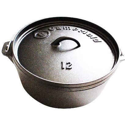 CampMaid 12' Pre-Seasoned 7 Quart Dutch Oven Without Legs
