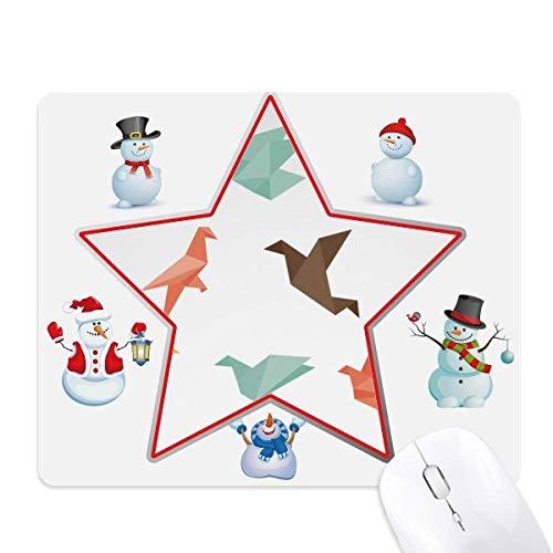 Colorido pájaro abstracto Origami patrón con muñeco de nieve familia estrella Mouse Pad