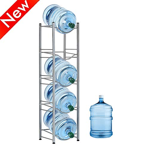 Nandae Water Cooler Jug Rack, 5-Tier Heavy Duty Water Bottle Holder Storage Rack for 5 Gallon Water Dispenser, Save Space (5-Tier, Silver)