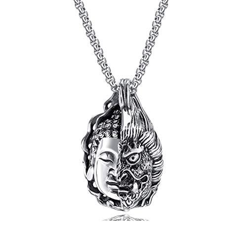 Kamellusone Hip Hop Religion - Collar con Colgante de Acero de Titanio Buda Magic