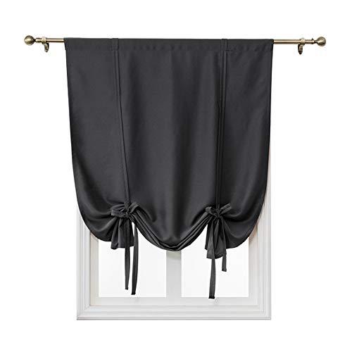Jian Ya Na - Cortina atada para ventana, color burdeos, dobladillo para barra, estor, cortina de bloqueo de luz, cortinas cortas, lisas para ventanas pequeñas