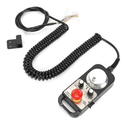 BTdahong Remolque universal de 5 V, 4 ejes, rueda de mano electrónica MPG, remolque, fresadora CNC y batería de emergencia, con cable LCD