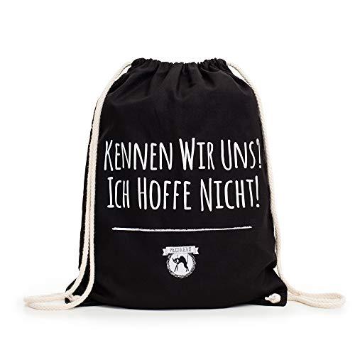 """Pechkeks Turnbeutel mit Spruch """"Kennen wir uns?"""" (Größe: 46x37cm, Farbe: Schwarz, Material: 100% Baumwolle)"""