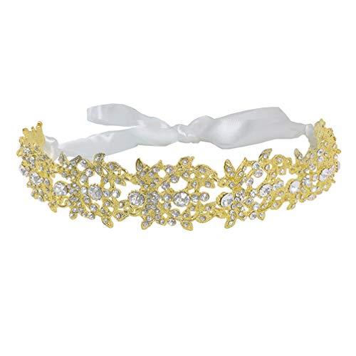 Lurrose Cinta Nupcial Diadema Corona de Boda Cristal Boda Halo Diadema Tiara...