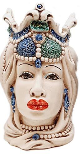 sicilia bedda - Teste di Moro Siciliane in Ceramica di Caltagirone - Realizzato Interamente a Mano - Altezza 18 Centimetri (Testa di Moro Donna Blu)