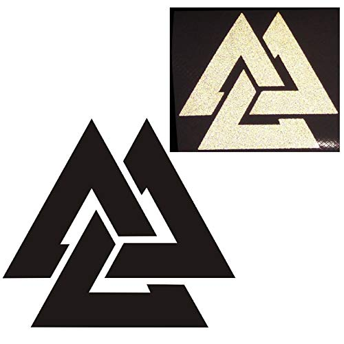 CUSHYSTORE 3' Valknut Triangle Knot Rings Runes Celtic Reflective Decals Vinyl Sticker for Car Laptop Hardhat Black Reflect White, 2 Pack