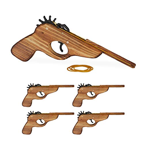 Relaxdays 5 x Gummiband Pistole, Spielzeugpistole aus Holz, mit 25x Gummiband, lustiger Spielspaß für Kinder, Outdoor, Natur
