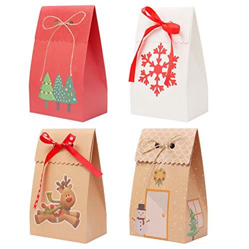 Sacs Cadeaux Noel (Lot de 12) - Pochette Cadeaux de Noël (18 x 11 x 7 cm) - Sac Papier Kraft 6 Marrons, 3 Rouges et Blancs Thème de Noel avec Ruban et Ficelle pour Friandises, Cadeaux et Surprises