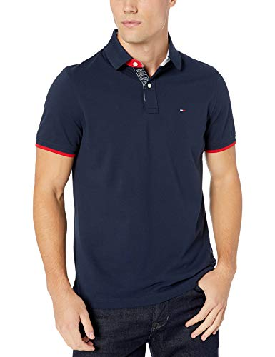 Tommy Hilfiger Men's Flag Pride Polo Shirt in Custom Fit, Navy Blazer, Small