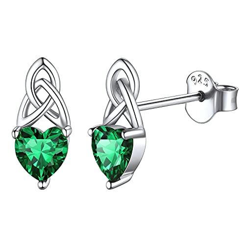 ChicSilver Emerald Earrings for Women 925 Sterling Silver Celtic Knot Studs Heart Green Gemstone May Birthstone Earrings for Girls