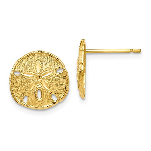 14k Yellow Gold Textured Sand Dollar Sea Star Starfish Post Stud Earrings Animal Life Fine Jewelry For Women Gifts For Her