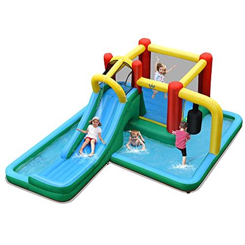 GOPLUS Aufblasbare Hüpfburg mit Rutsche, Spielburg mit Tragetasche & Heringen & Reparaturset, Wasserpark für 4 Kinder im Alter von 3 bis 10 Jahren, für Garten Park Garage, bunt