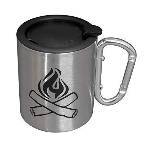 Mug Camping - Tasse de camping avec poignée en forme de mousqueton et couvercle, en acier inoxydable, à double paroi