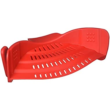 Kitchen Gizmo Snap N Strain Strainer, Clip On Silicone Colander, Fits all Pots and Bowls - Red