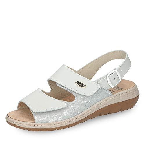 Gebrüder Götz 131018-19 Damen Sportive Sandale aus Nubukleder mit Lederwechselfußbett Weite G, Groesse 42, Silber/Offwhite