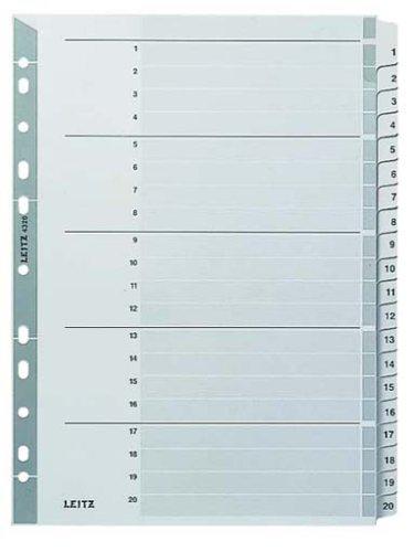 Leitz Register für A4, Deckblatt und 20 Trennblätter, Taben mit Zahlenaufdruck 1-20, Lochrand und bunte Taben folienverstärkt (Mylar), Grau, Karton, 43260000