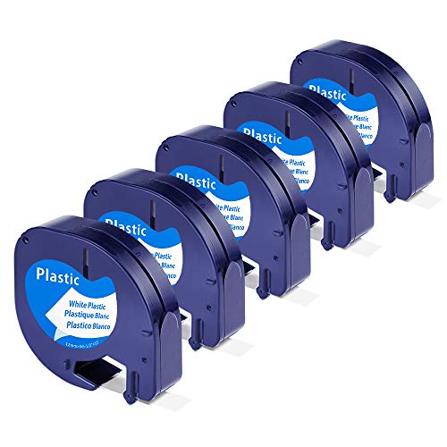 Unistar - Cinta de Etiquetas compatible para usar en lugar de Dymo Letratag Cinta Etiquetas plastic 12mm x 4m negro sobre blanco S0721610 para Etiquetadoras LT-100h LT-100T LT-110T XR ⭐