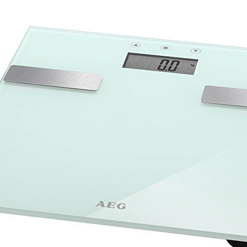 Báscula de análisis 7 en 1 de cristal y acero inoxidable de hasta 180 kg de peso. Análisis de grasa corporal, contenido de agua, peso muscular, consumo de calorías e índice Color: blanco
