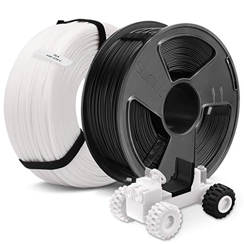 3D Printer PLA Filament 1.75,SUNLU 2 Colors PLA 1.75mm of MasterSpool,Fit FDM 3D Printer,1KG Spool,Pack of 2, Dimensional Accuracy +/- 0.02 mm,PLA Black+White