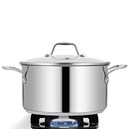 6-Quart Stainless Steel Stock Pot - 18/8 Food Grade Stainless Steel Heavy Duty Induction - Stock Pot, Stew Pot, Simmering Pot, Soup Pot with See-Through Lid, Dishwasher Safe - NutriChef NCSP6