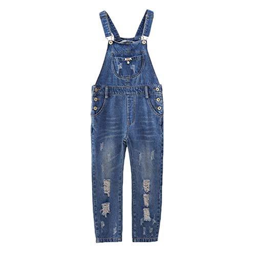 Mädchen Kinder Jeans Latzhose Overall Einteiler Dungaree Jeanshose Mit Latz Blau 140CM
