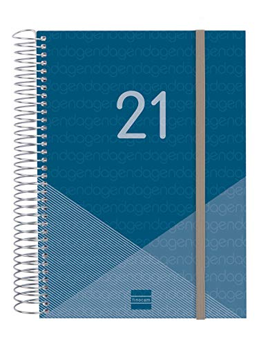 Finocam - Agenda 2021 1 Día página Espiral Year Azul Español, Sobremesa - E10-155x212 mm