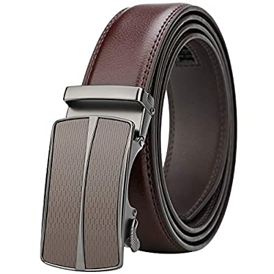 """Lavemi Men's Real Leather Ratchet Dress Belt with Automatic Buckle,Elegant Gift Box(36-22050 Brown 44"""")"""