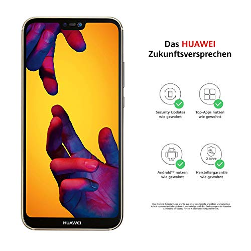 Huawei P20 lite Smartphone BUNDLE (14.83 cm (5.84 Zoll), 64GB interner Speicher, 4GB RAM, 16 MP Plus 2 MP Kamera, Android 8.0, EMUI 8.0) Platin Gold [Exklusiv bei Amazon] - Deutsche Version