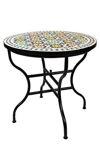 ORIGINAL Marokkanischer Mosaiktisch Gartentisch ø 80cm Groß rund klappbar | Runder klappbarer Mosaik Esstisch Mediterran | als Klapptisch für Balkon oder Garten | Albaicin Mehrfarbig Bunt 80cm