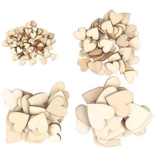 ZesNice 500 x Cuori in Legno (1cm 2cm 3cm 4cm) - Cuori in Legno Grezzo - per Matrimoni, Decorazioni o lavori Artigianali