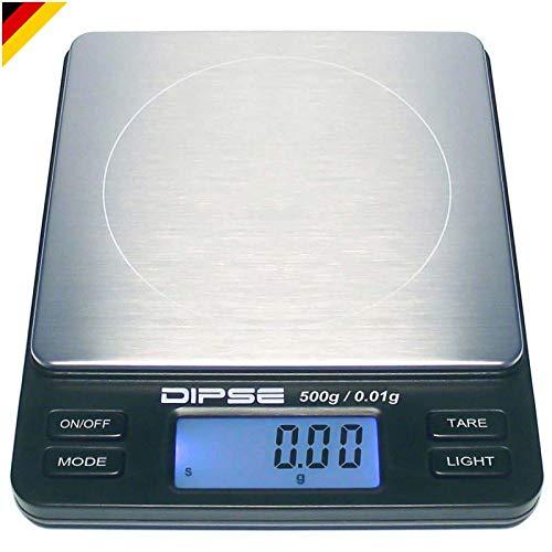 Dipse Digitale Laborwaage TP-500 x 0,01 - Feinwaage mit 0,01g genauer Auflösung Digitalwaage bis 500g / 0,5 kg Wägebereich 500 x 0,01g, Farbe Schwarz