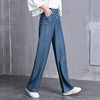 LUKEEXIN Spring and Autumn High Waist Tencel Jeans Women's Thin Summer Pants Loose Thin Large Size Ultra-Thin Wide Leg Pants